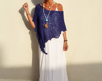 Loose knit poncho, blue coverup boho, mediterranean blue, gifts for her, women poncho, beach coverup,