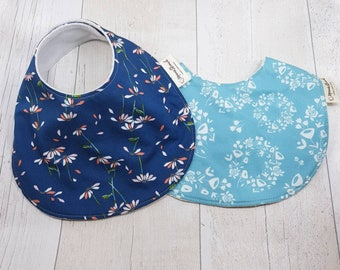 Baby girls bibs, two baby bibs, bandana bib x 2, ditsy floral baby, baby shower gift, girls drool bibs, baby accessories, cotton bibs