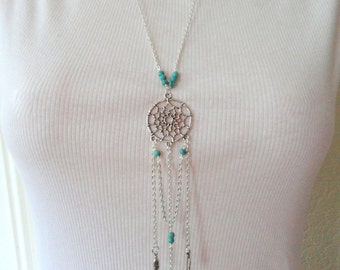 Dreamcatcher necklace, Long silver boho necklace, Bohemian style silver turquoise necklace, Boho turquoise necklace, Gifts