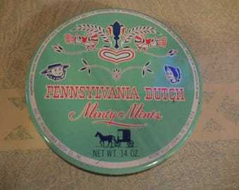 Vintage 1950s to 1960s Round Metal Tin Pennsylvania Dutch Minty Mint Collectible Light Green/Red/White/Blu Candy Retro Small