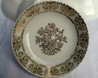 Royal China - SCARCE Gold Tree and Bird Pattern - Set of 4 Coupe Berry Fruit Dessert Bowls - 1950s