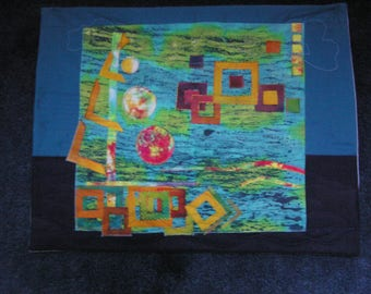 Small painting of boat textile art