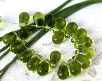 Olive green drop beads, olivine teardrops, Czech Glass pressed glass beads - 6x10mm - 20pc - 0448