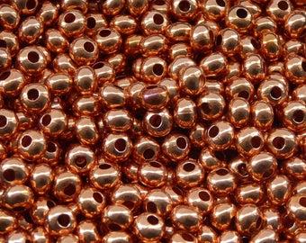 50 pcs - 4mm copper rondelle beads - genuine copper beads - 4mm beads - round seamless beads -pure copper findings