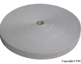 """3/4"""" White Ribbed Non-Roll Elastic Roll 36 YDS"""