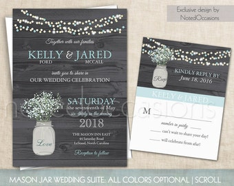 Mason Jar Wedding Invitations Suite Rustic Country