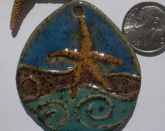Stoneware Dancing Starfish Wave Pendant
