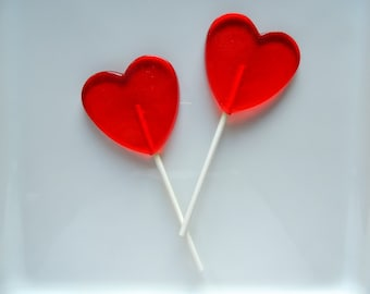 8 Large Heart Lollipops Wedding Shower Birthday Valentine Party Favors Candy