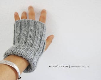 knitted fingerless gloves || 2-way to wear fingerless mittens || | ribbed gloves ||| gifts for unisex || driving gloves -grey heather