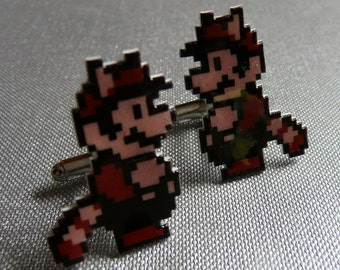 fly mario to the moon - super mario 3 raccoon mario cufflinks