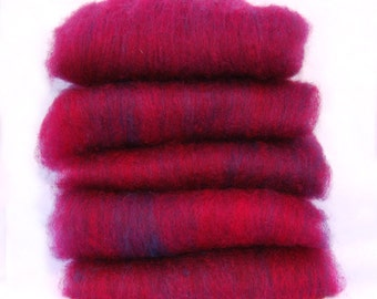 Shetland Navy Fuschia Spinning Batts - 5 ounces