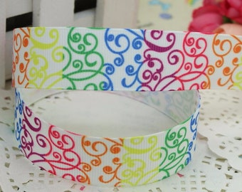 "Rainbow Artistic Elegant Colored Swirls Printed Grosgrain Ribbon 7/8"" wide Scrapbooking  RA040218"