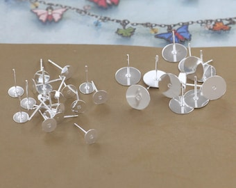 500 Brass Silver Plated Earring Posts W/ 6mm/ 8mm/ 10mm Round Pad Setting for Gluing Wholesale Ear Studs- Z8229