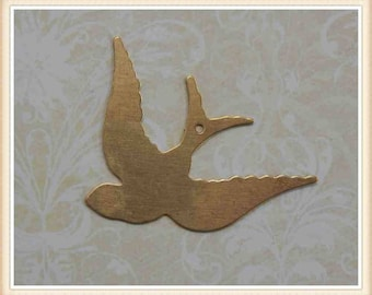 4 pcs raw brass blank bird swallow dove sparrow charm stamping finding #5446
