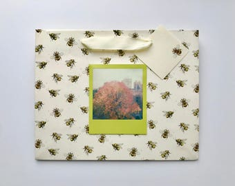 Fall Leaves on Bees Giftbag - One of a Kind - Handmade Gifts