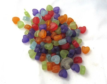 100 Assorted Color Frosted Acrylic Heart Beads (303c)