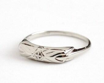 Sale - Vintage Wedding Band - 14k White Gold Diamond Ring - Size 7.5 Mid Century 1950s Wedding Fine Bridal Solitaire Diamond Jewelry