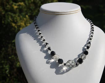 French Jet and clear glass art deco necklace - vintage necklace - black and clear glass beads - faceted beads