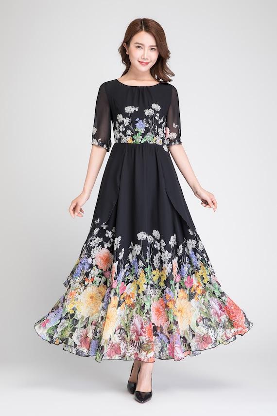 long summer chiffon black chiffon dress dresses dress prom dress womens dress dress cocktail dress floral 1895 dress floral chiffon RwW68YqwP