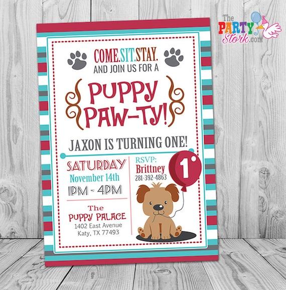 Puppy invitation boy puppy birthday invitation printable like this item filmwisefo Choice Image
