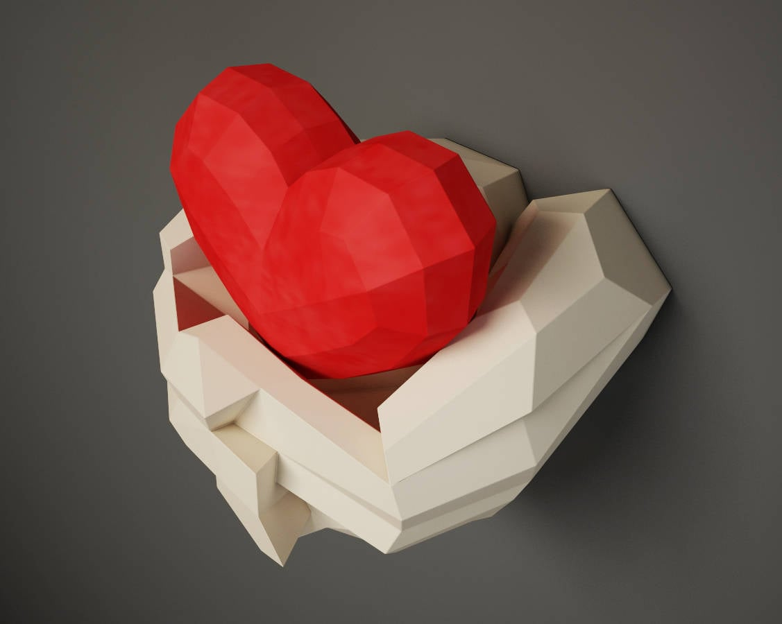 Papercraft hand with heart 3d paper craft wall decor diy gift this is a digital file jeuxipadfo Images