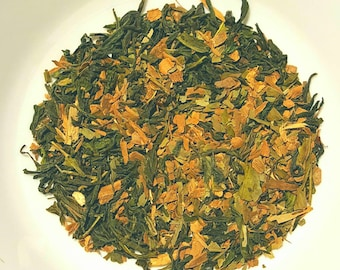 General Dao's Green Tea, Organic Loose Leaf Tea, Dao Ren Tea, Organic Green Tea, Cinnamon, Ginkgo Leaf, Vegan Tea, Gluten Free, Herbal Tea