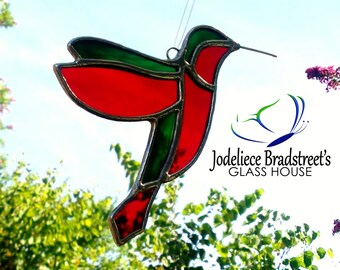 Red Hummingbird Stained Glass Suncatcher Window and Garden Decor Mother's Day Gift Green and Red Stained Glass Bird Sun Catcher