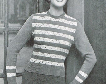 Vintage Women's Knitting Pattern - Karla striped sweater - 40s 50s - instant download PDF - knitting patterns for women