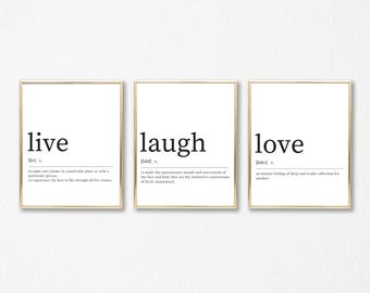 Live Laugh Love Definition Print Set of 3 Printables - DIGITAL DOWNLOAD - Live Laugh Love Dictionary Prints - Live Laugh Love Poster