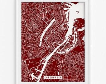 Copenhagen Map, Denmark Poster, Copenhagen Print, Copenhagen Poster, Denmark Print, Street Map, Map Print, Mothers Day Gift
