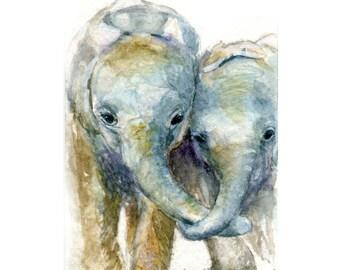 Watercolor Elephants, Elephants Print, Baby Elephant Art, Elephant Art, Elephant Print