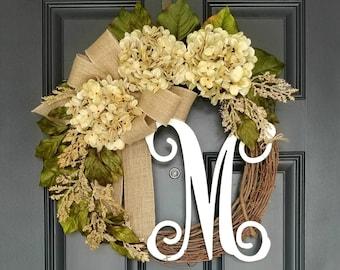 Summer Wreath For Front Door,Grapevine Wreath,Hydrangea Door Wreath,Farmhouse Wreath,Wreath With Letter,Frond Door Decor,Housewarming Gift