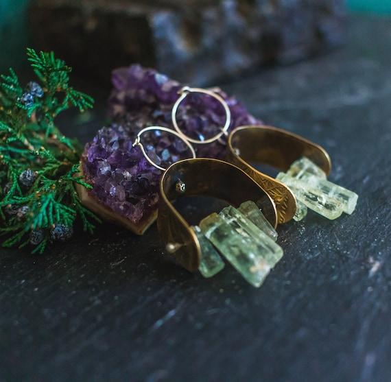OOAK Boho earrings, Brass and Silver Earrings, Aquamarine Earrings, Moon and Mountains Earrings, Raw Crystal Earrings