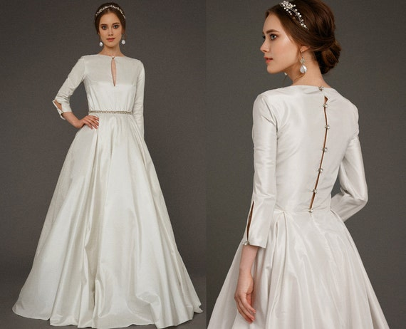 EKDERA / Modest Simple Wedding Dress With Long Sleeves Bridal