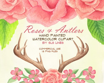 Roses and antlers watercolor clipart, digital flowers, pink roses clip art, wedding invitations, florals for invites, DIY cards