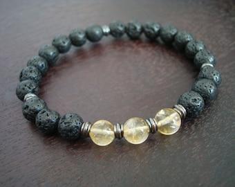 Men's Lucky Citrine Mala Bracelet // November Birthstone Mala Bracelet // Yoga, Buddhist, Meditation, Jewelry