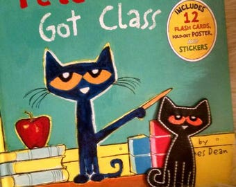 Pete the cat hard cover book with finger puppet  Pete the Cat's got class