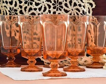 Water Goblets Iced Tea Glasses Fostoria Virginia Peach Drinking Glasses Set of 6 Glasses