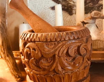 Hand carved wooden mortar and pestle