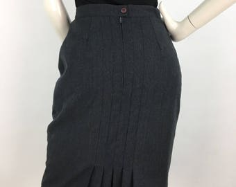 1970s grey wool pencil skirt back pleated detail