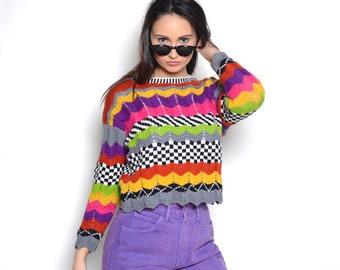 Vintage 90's Rainbow & Checkered Print Knit Sweater Sz S