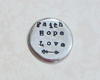 Faith Hope Love Pocket Token - Hand Stamped Personalized Pewter Pocket Stone - Pewter Pocket Pebble Keepsake