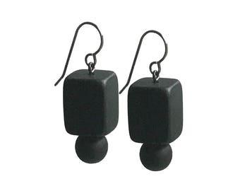 black geometric earrings, modern resin jewelry, modern minimalist style designed by Frank Ideas