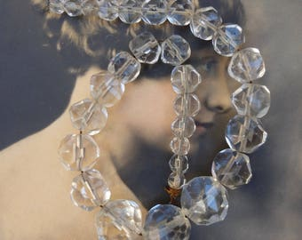 Chandelier beads etsy vintage chandelier chunky clear glass beads faceted graduated sizes aloadofball Images