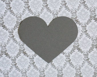 Gray Heart Die Cut Shapes - Paper Hearts - Heart Shaped - 2.5 x 2 inch - Charcoal Grey Card Stock - Gray Wedding Decor