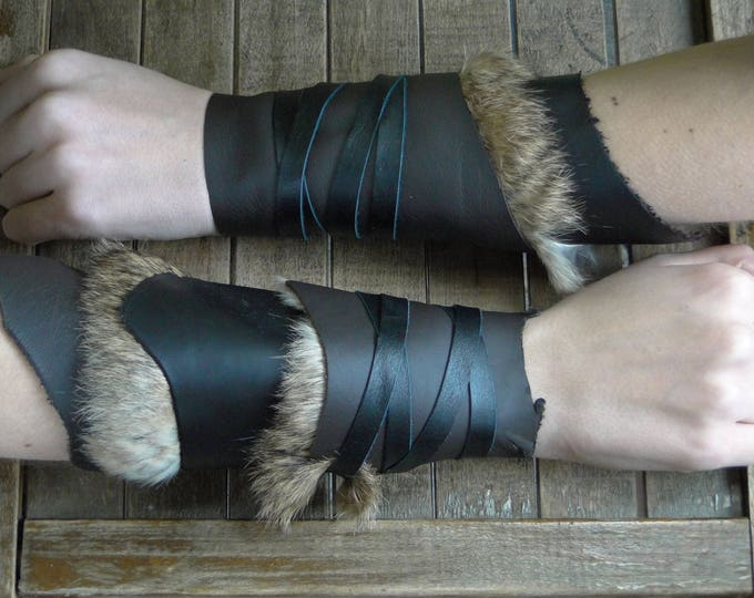 Leather Cuffs - Warrior Viking Tribal Larp Costume Cosplay - Pair #2c