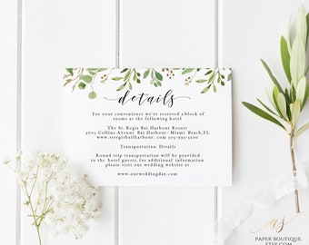 Greenery Wedding Details Card Template Detail Card Printable Wedding Details Insert Information Card Wedding Info Card Template #G01_2