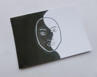 Contrast Neutral Face Design - ACEO original