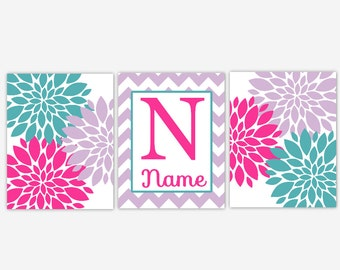 Baby Girl Nursery Art Teal Hot Pink Aqua Lavender Flower Bursts Personalized Name Baby Girl Decor Floral Prints Girls Room Wall Art