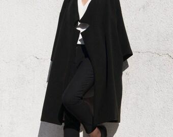 The Minimal Coat . Black Wool Coat . Oversize Coat
